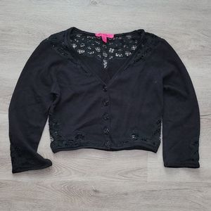 Betsey Johnson Cropped Lace Knit Cardigan